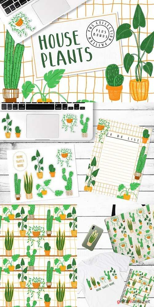 HOUSEPLANTS – PNG & Patterns Pack - 2916669