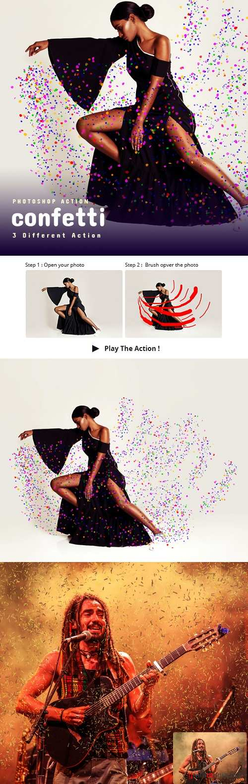 3 Confetti Photoshop Action 22825024