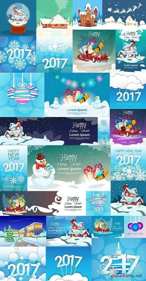 Merry Christmas New Year Banner Greeting Card Flat Vector Illustration 2