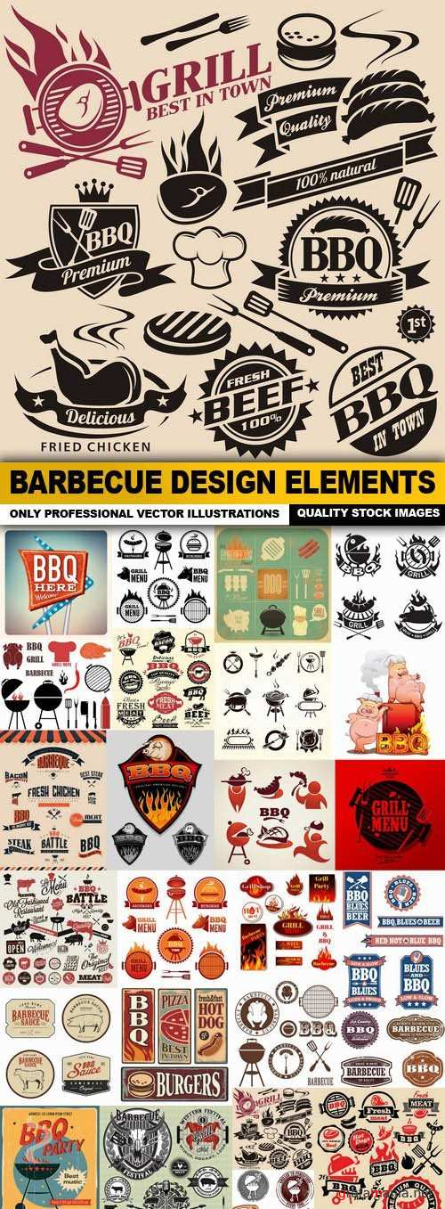 Barbecue Design Elements - 25 Vector