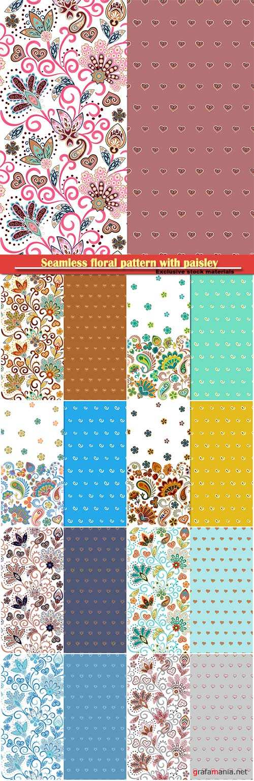 Seamless floral pattern with paisley and fantasy flowers border