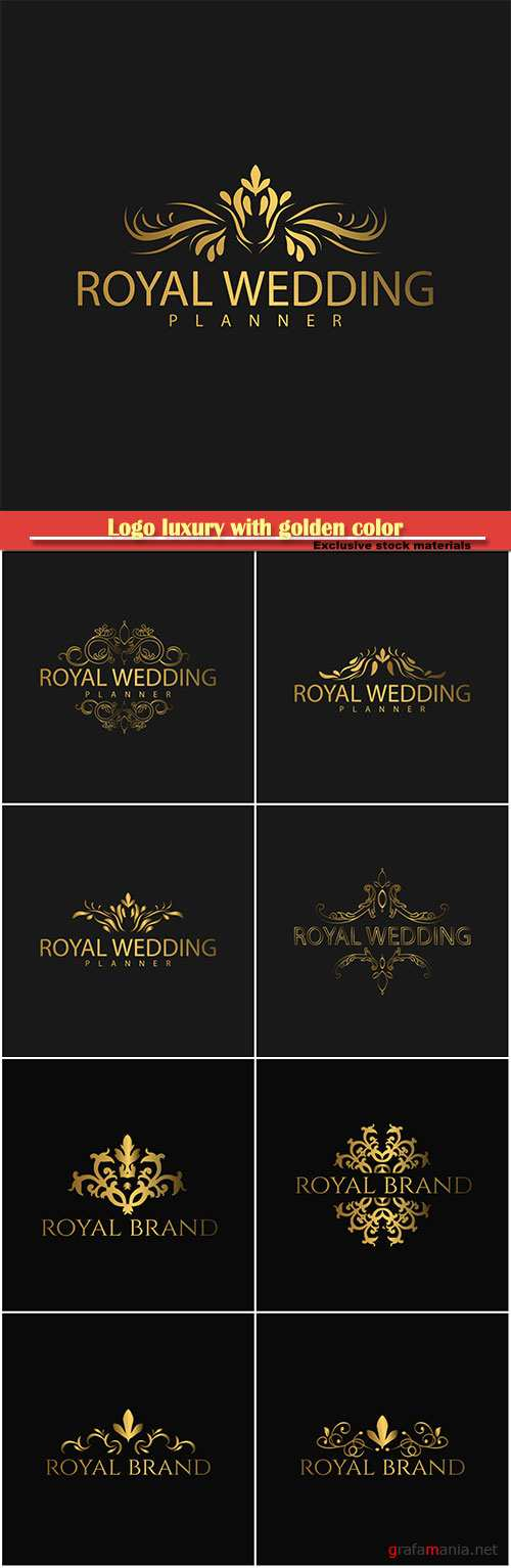 Logo luxury with golden color, royal brand for luxurious corporate