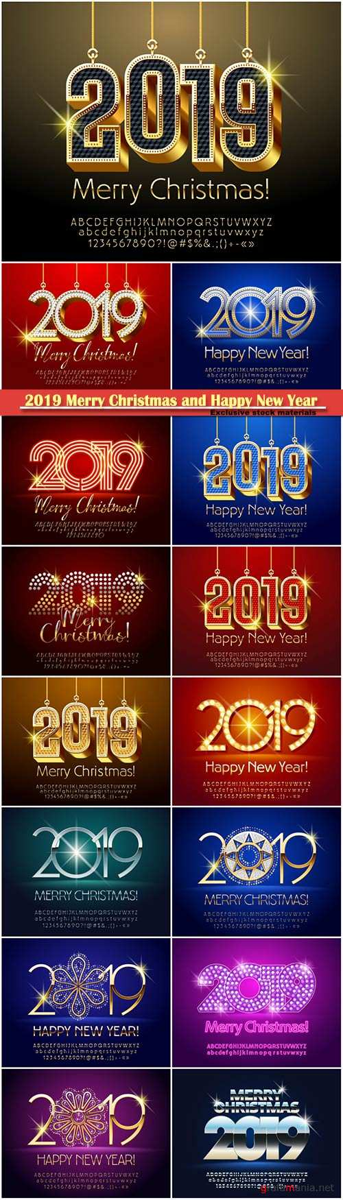 2019 Merry Christmas and Happy New Year sign