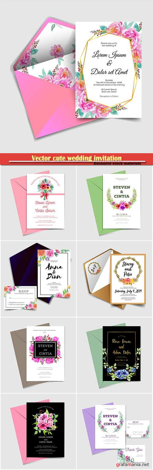 Vector cute wedding invitation, watercolor flower