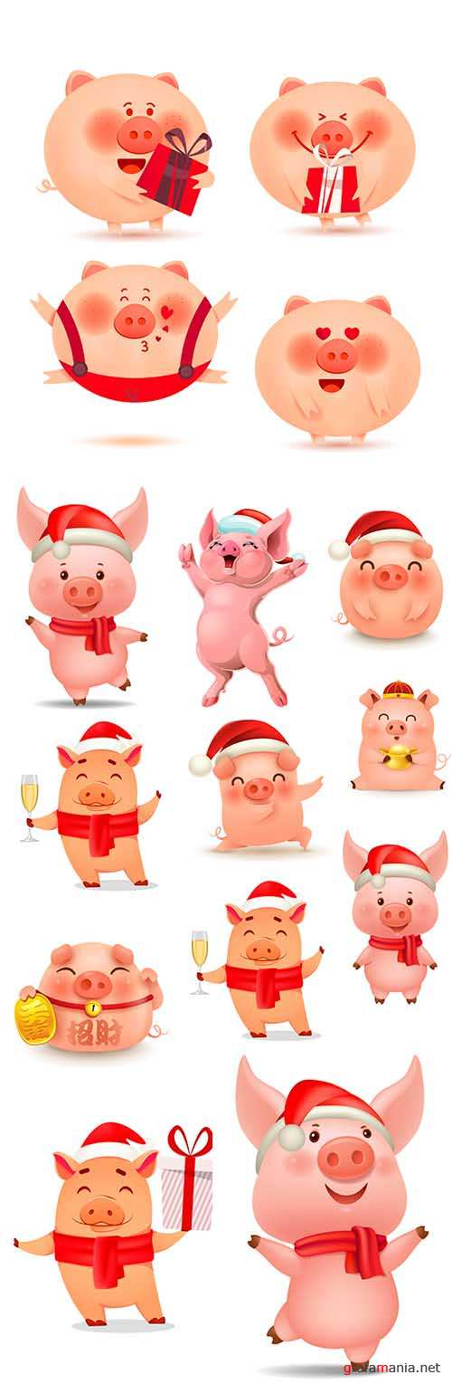 Christmas Piggy cheerful and ruddy cartoon character