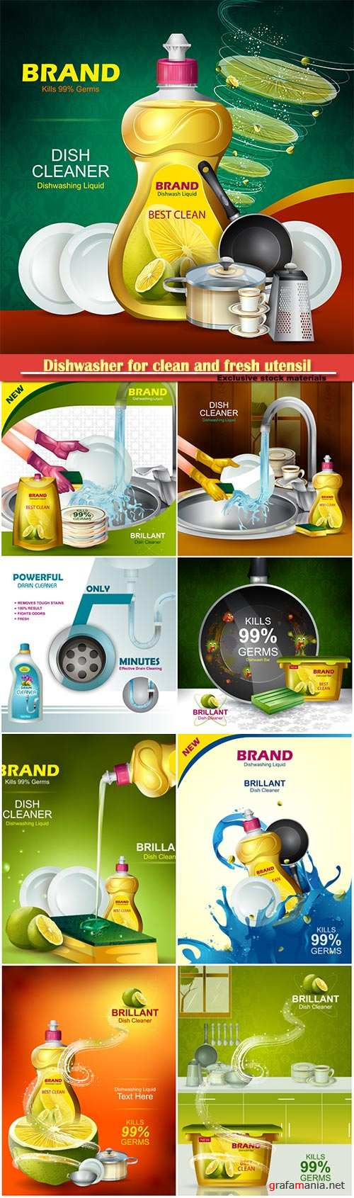 Advertisement banner of tough stain remover liquid, dishwasher for clean and fresh utensil