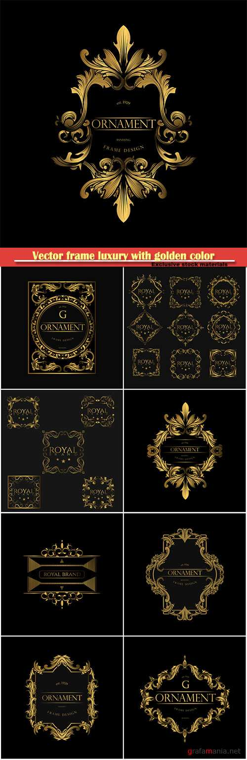 Vector frame luxury with golden color