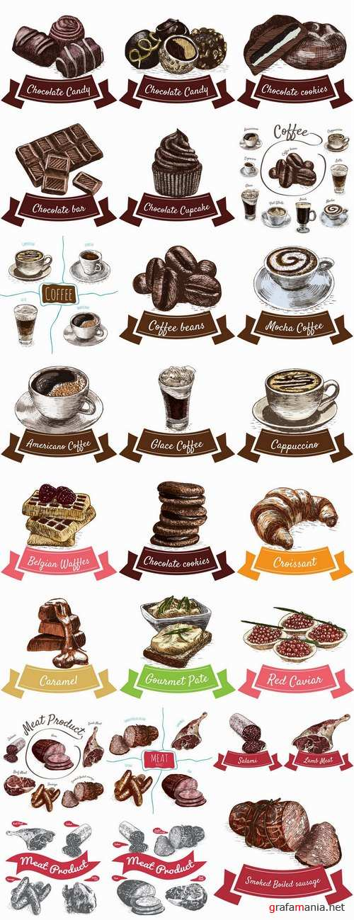 Meat chocolate coffee drink cocktail drawn vector illustration picture 25 EPS