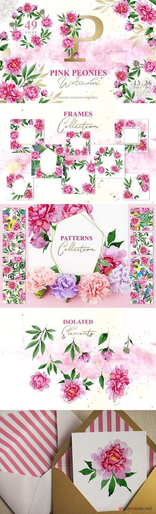 PINK PEONIES Watercolor png - 3309707 - 3517498
