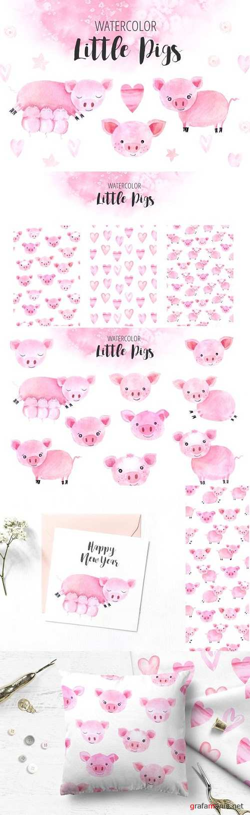 Watercolor Little Pigs Set 3228509