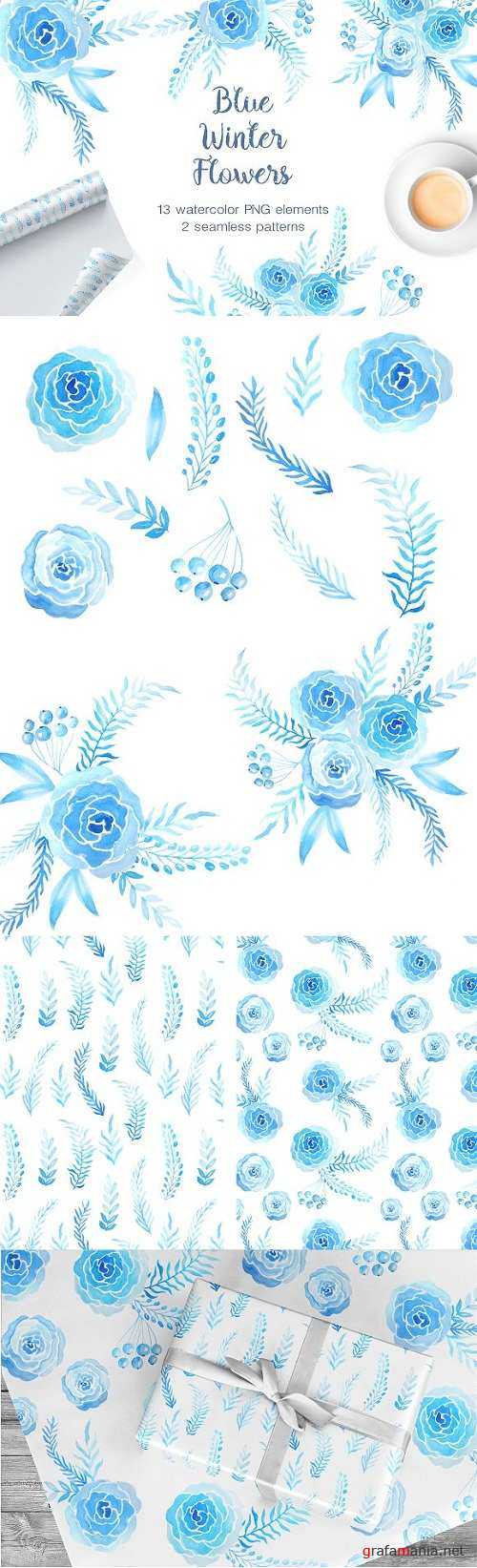 Watercolor Blue Winter Blooms 1268984