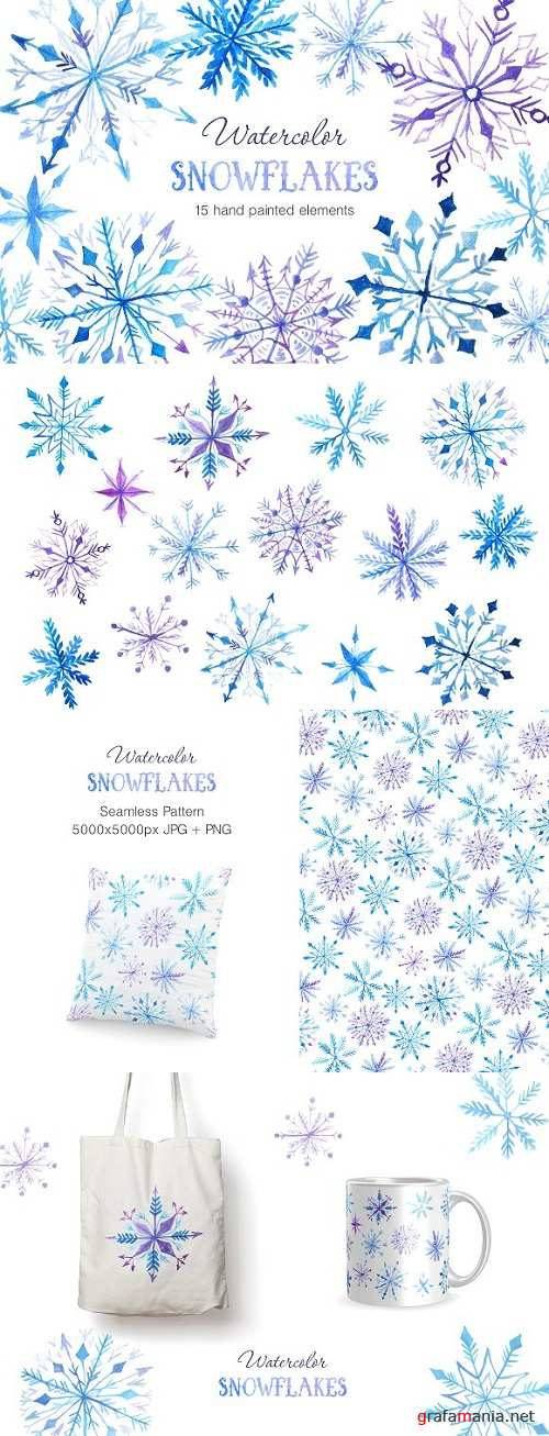 Watercolor Snowflakes Set Vol.2 983263