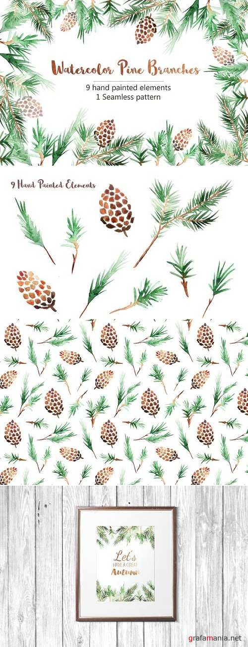 Watercolor Pine Branches Mini Set 2037775