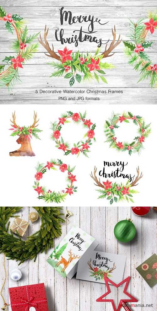 Watercolor Christmas Frames