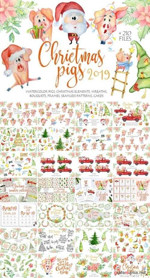 Christmas cute pigs collection - 3077932