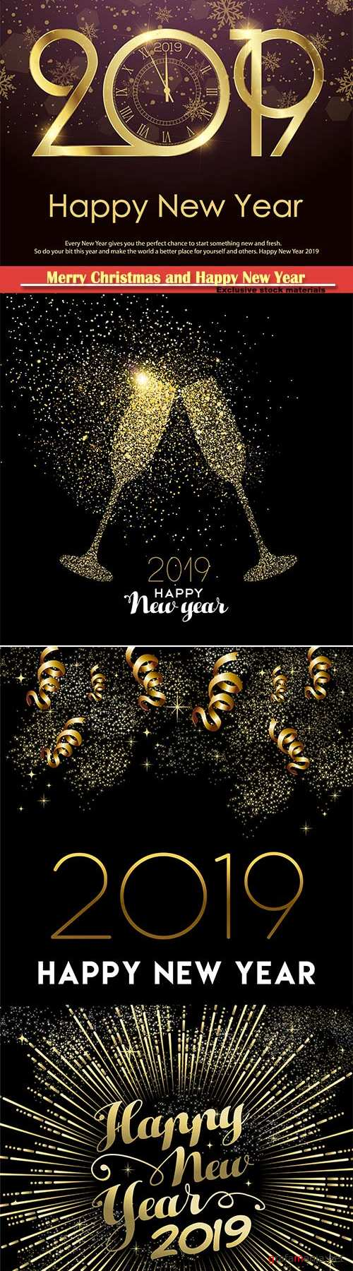 Happy New Year 2019 gold party decoration vector card