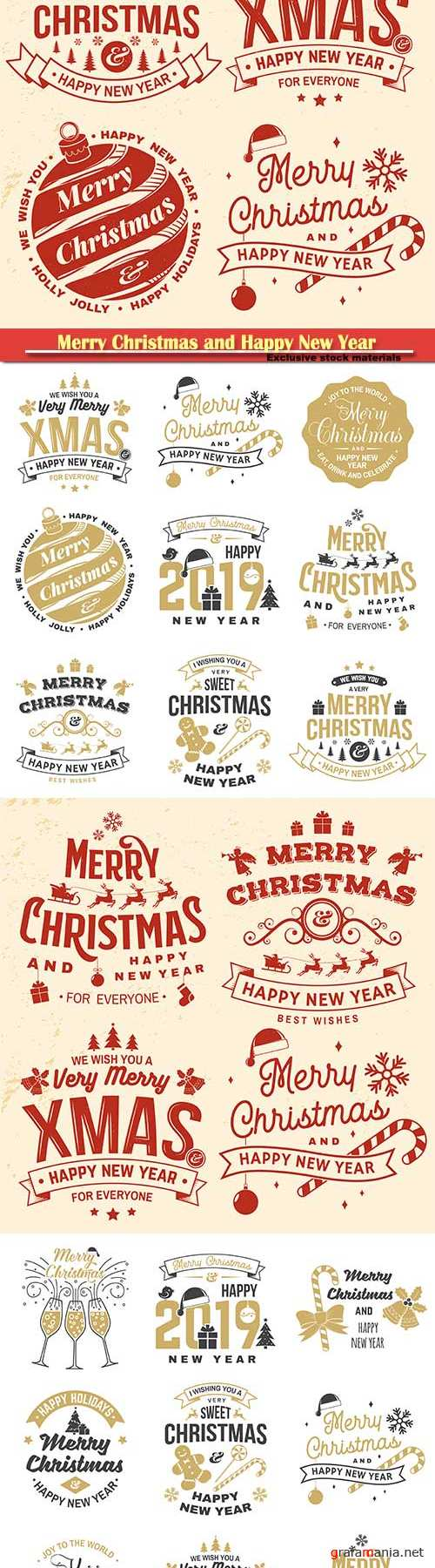 Merry Christmas and 2019 Happy New Year stamp, sticker set