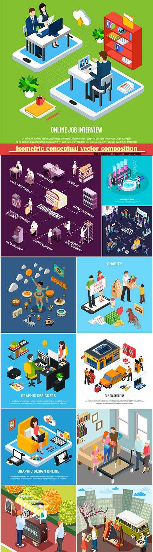 Isometric conceptual vector composition, infographics template # 58