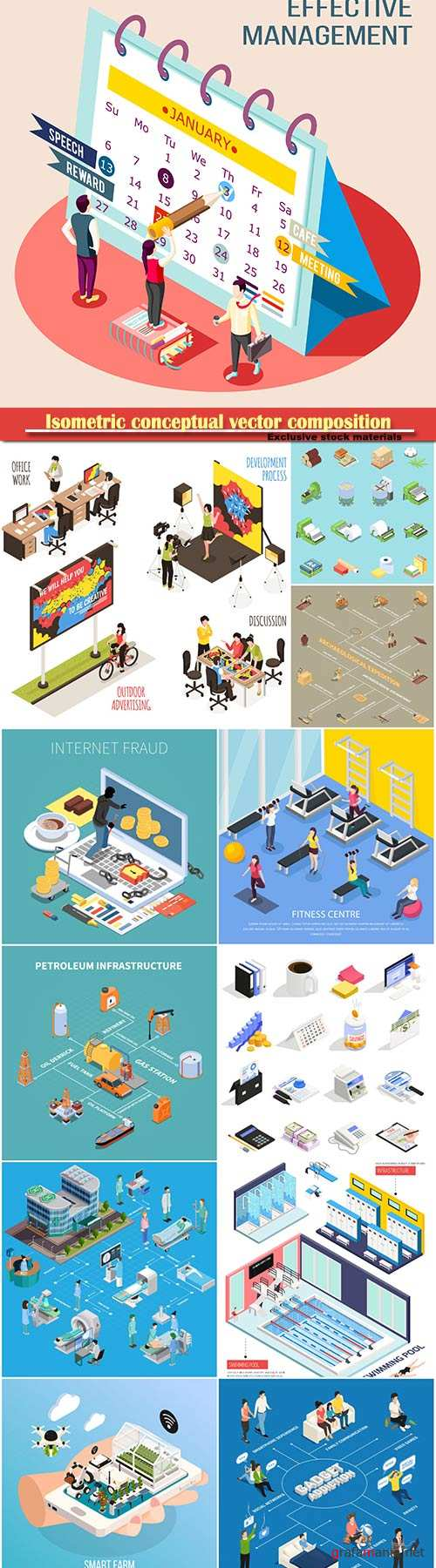 Isometric conceptual vector composition, infographics template # 57