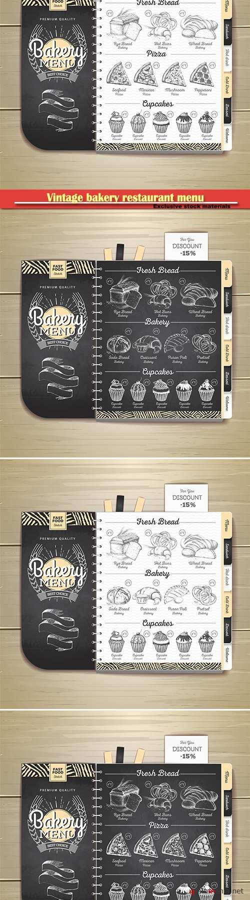 Vintage chalk drawing bakery restaurant menu design  vector illustration