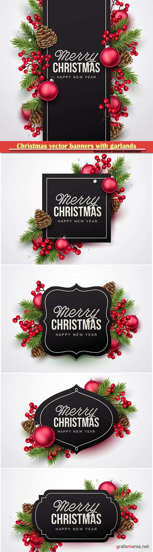 Christmas vector banners with garlands of Christmas trees of cones and balls