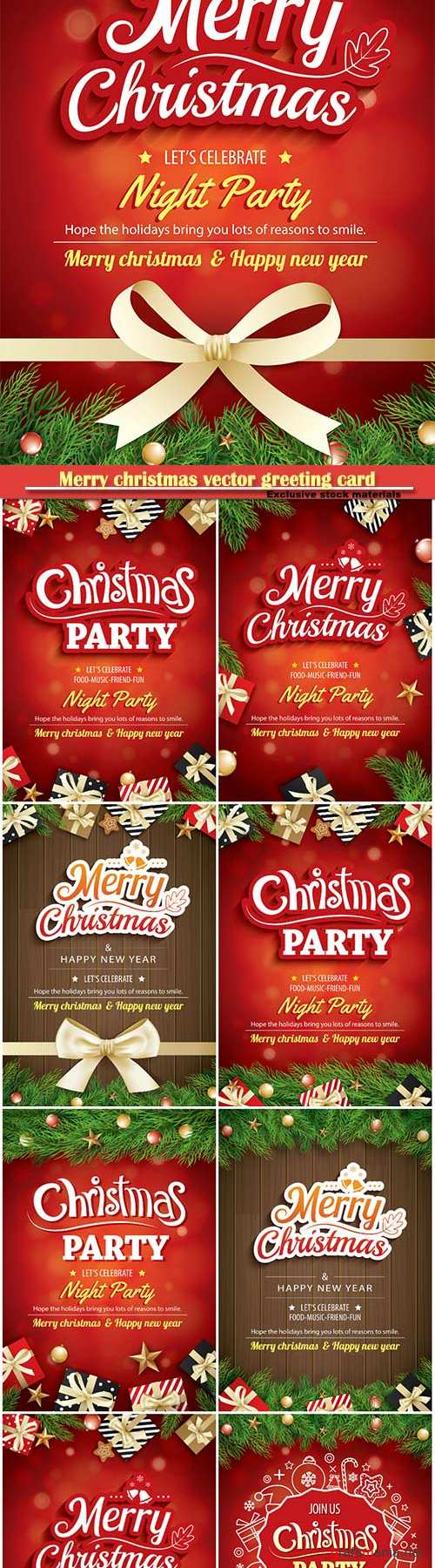 Merry christmas vector greeting card and party holiday invitation
