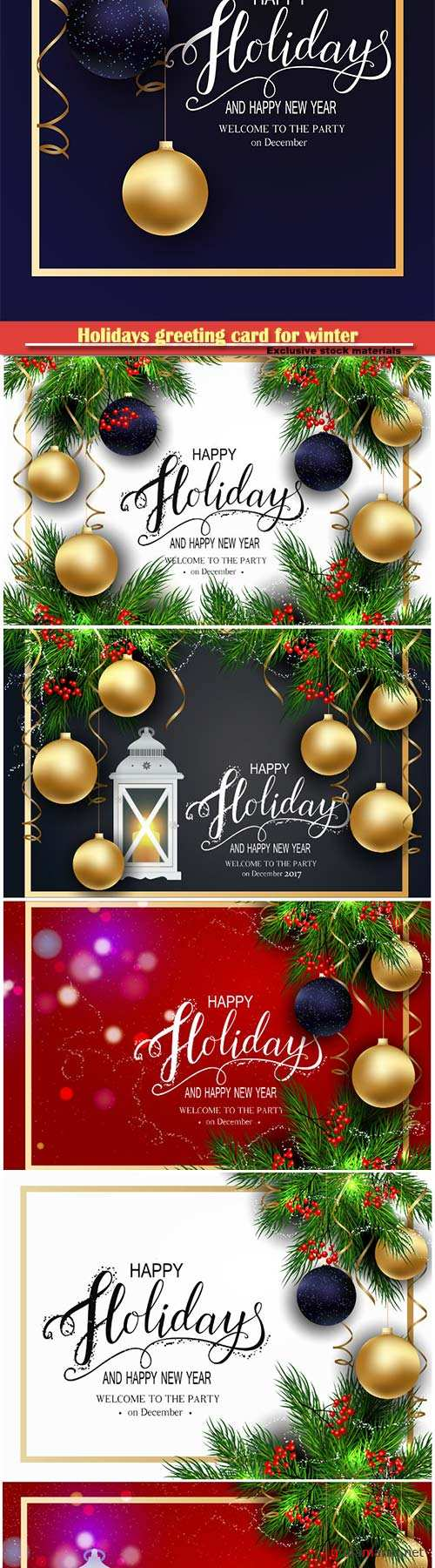 Holidays greeting card for winter happy New Year illustration