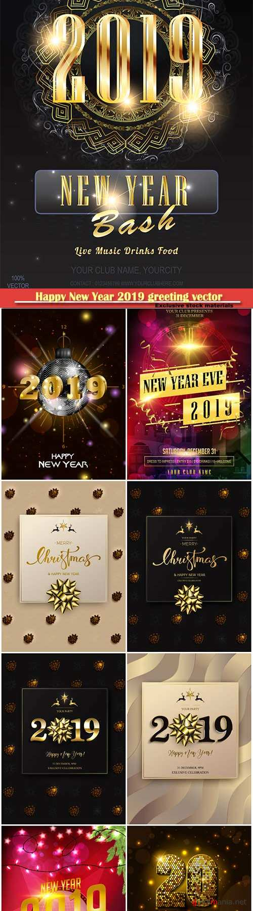 Happy New Year 2019 greeting vector background