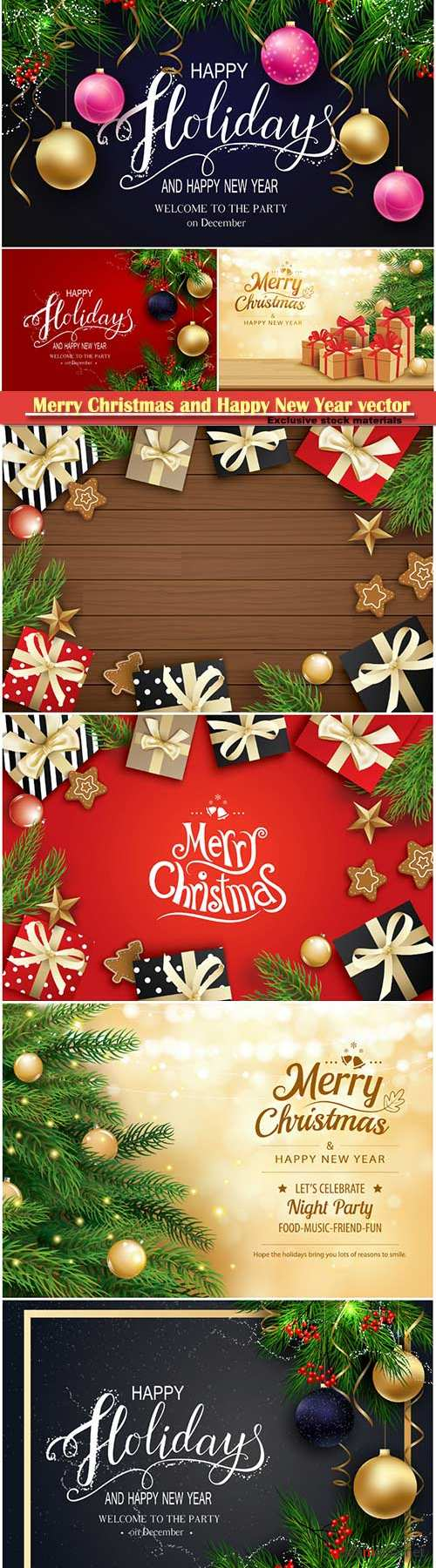 2019 Merry Christmas and Happy New Year vector design # 3