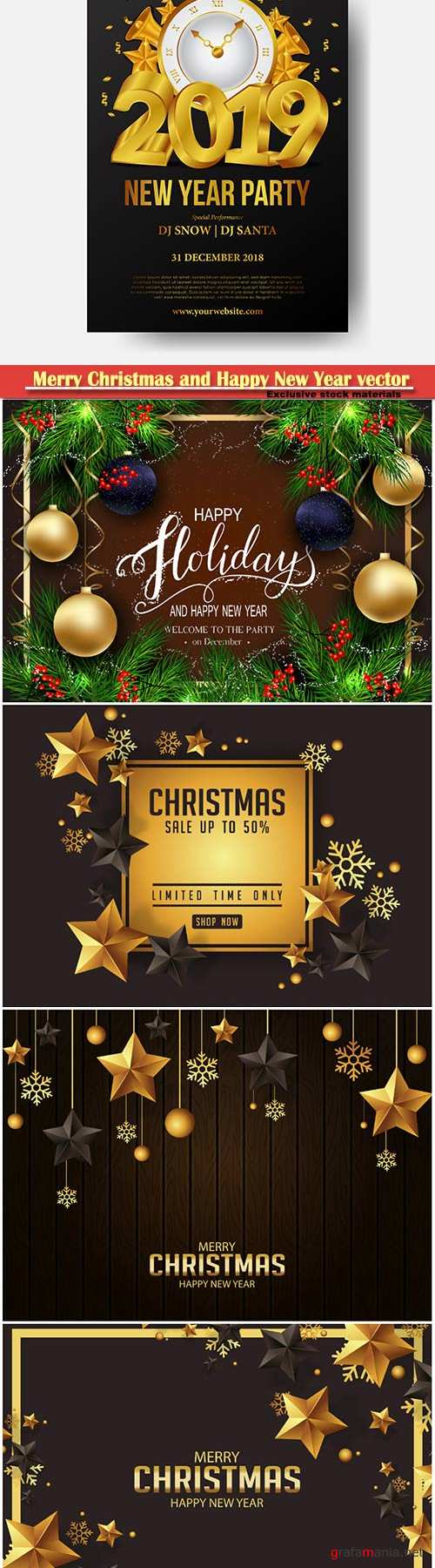 2019 Merry Christmas and Happy New Year vector design # 7