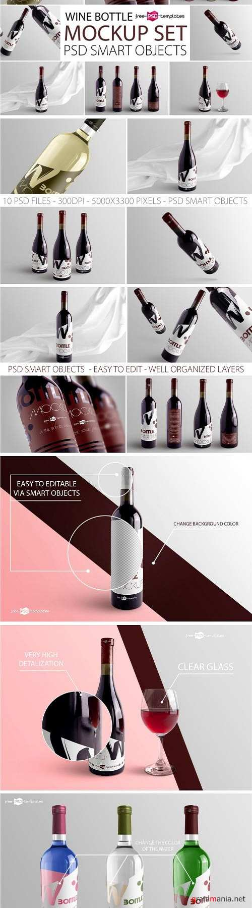 Wine Bottle Mockup Set 3130526