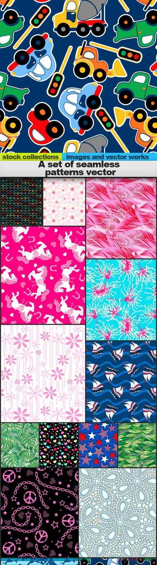 A set of seamless patterns vector, 15 x EPS