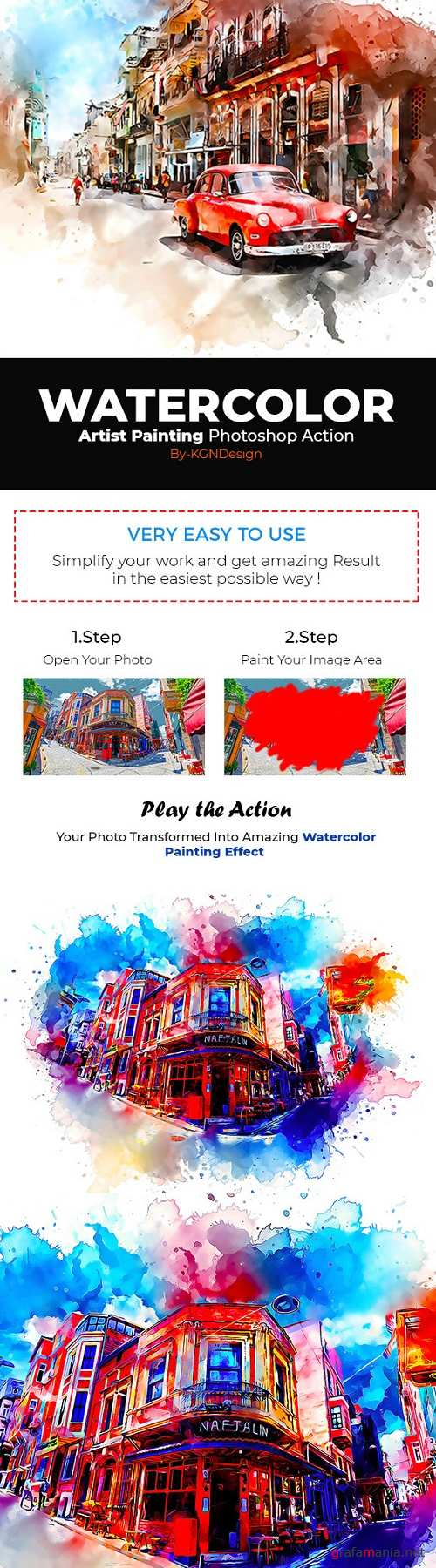 Watercolor Artist Painting Photoshop Action 22294640