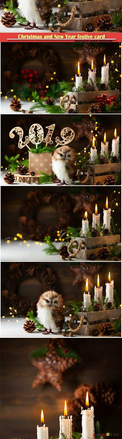 Christmas and New Year festive card, candles, owl, pine cones and fir branches in old box
