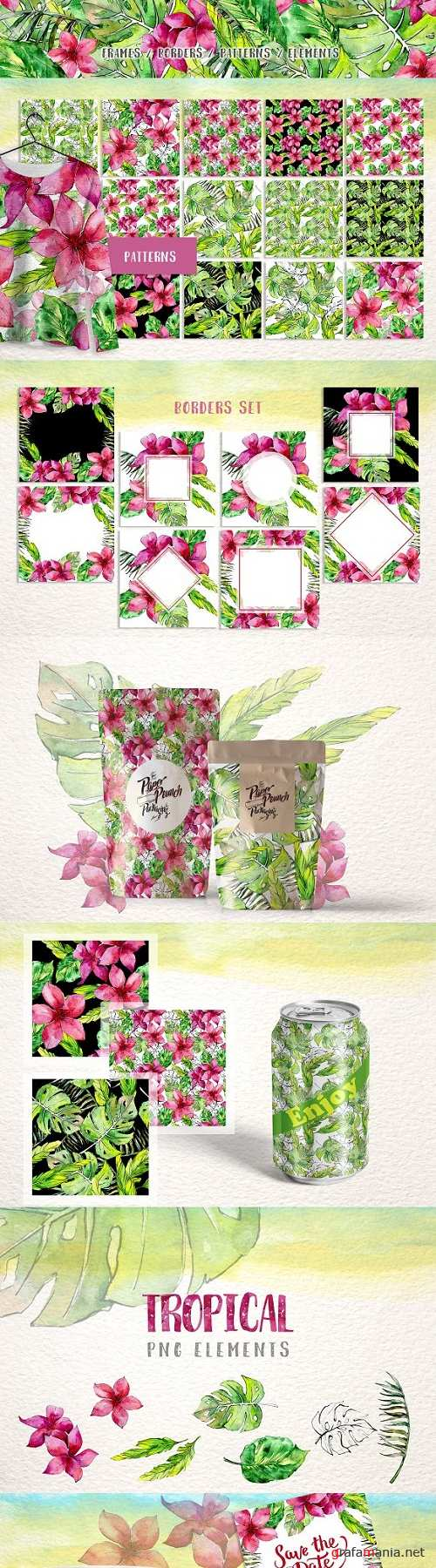 Tropical leaves collection PNG watercolor set – 2916692 - 3486449