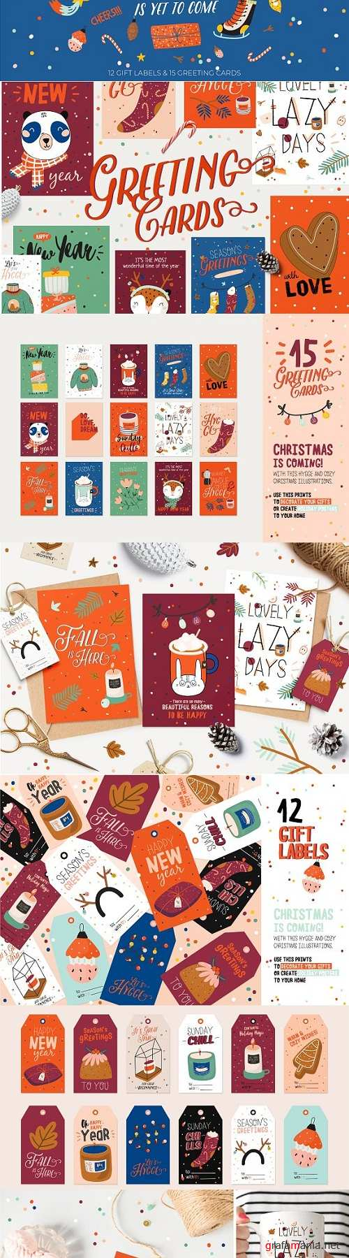 Cute Christmas cards & gift labels - 3136152