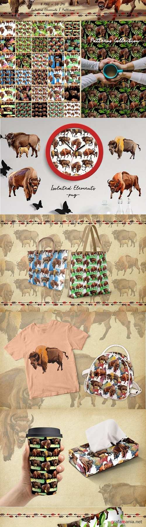 Exotic bison wild animal PNG watercolor set - 2920230 - 3486700