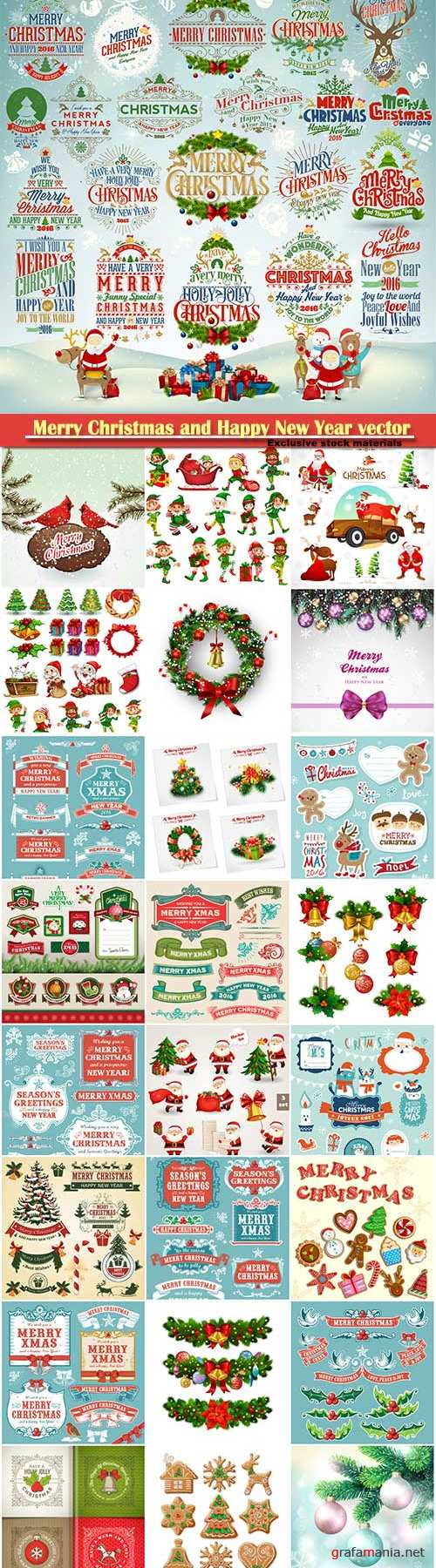 Merry Christmas and Happy New Year vector design # 20