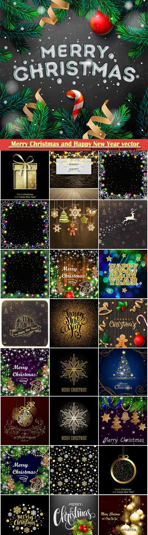Merry Christmas and Happy New Year vector design # 24