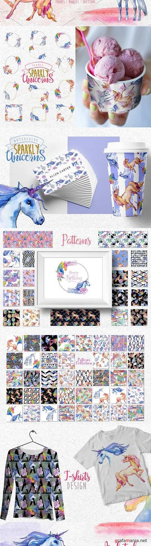 Watercolor Sparkly unicorns PNG set - 3063188 - 3499048