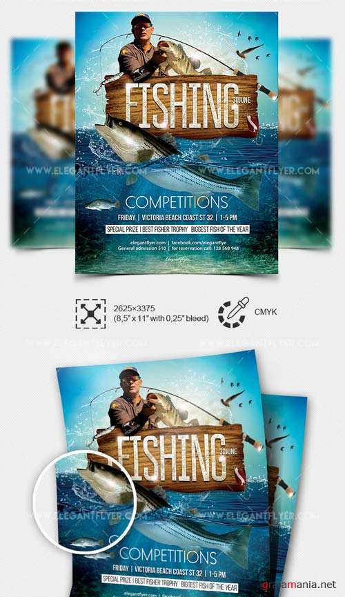 Competitions for fishing V27 2018 Flyer PSD Template