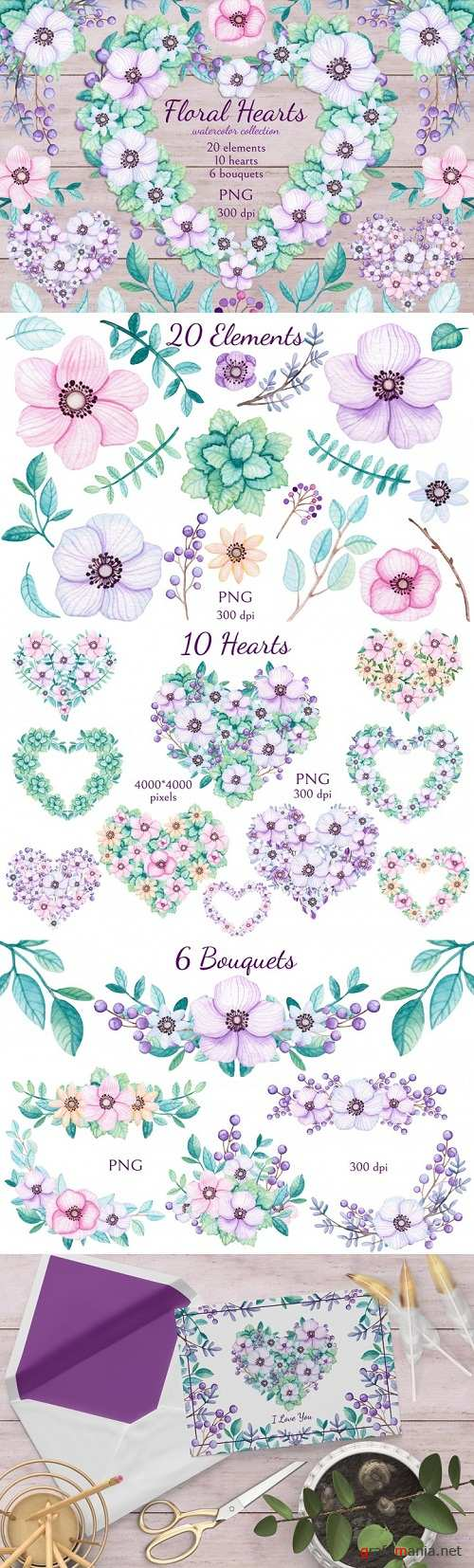 Thehungryjpeg - Floral Hearts 117479