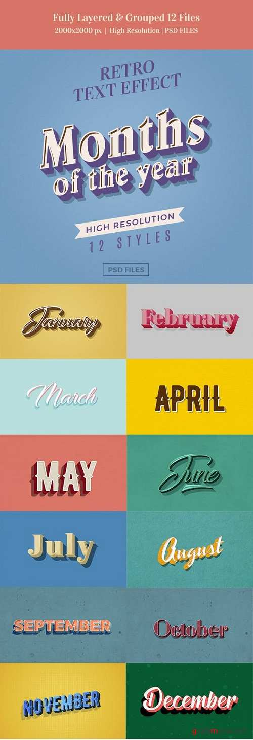 Months of the Year Retro Text Effects - 23086037