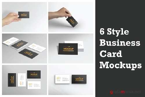 6 Style Business Card Mockups 2281641