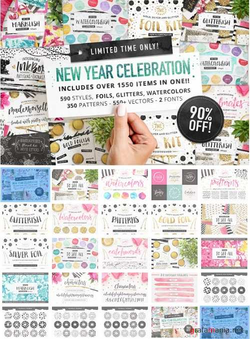 Thehungryjpeg - New Year Celebration Bundle 3515698