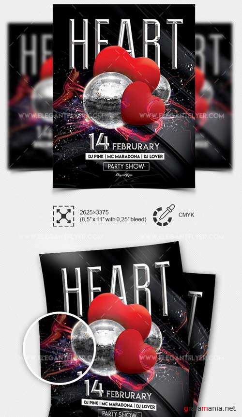 Heart Party V1 2019 PSD Flyer Template + Facebook Cover + Instagram Post