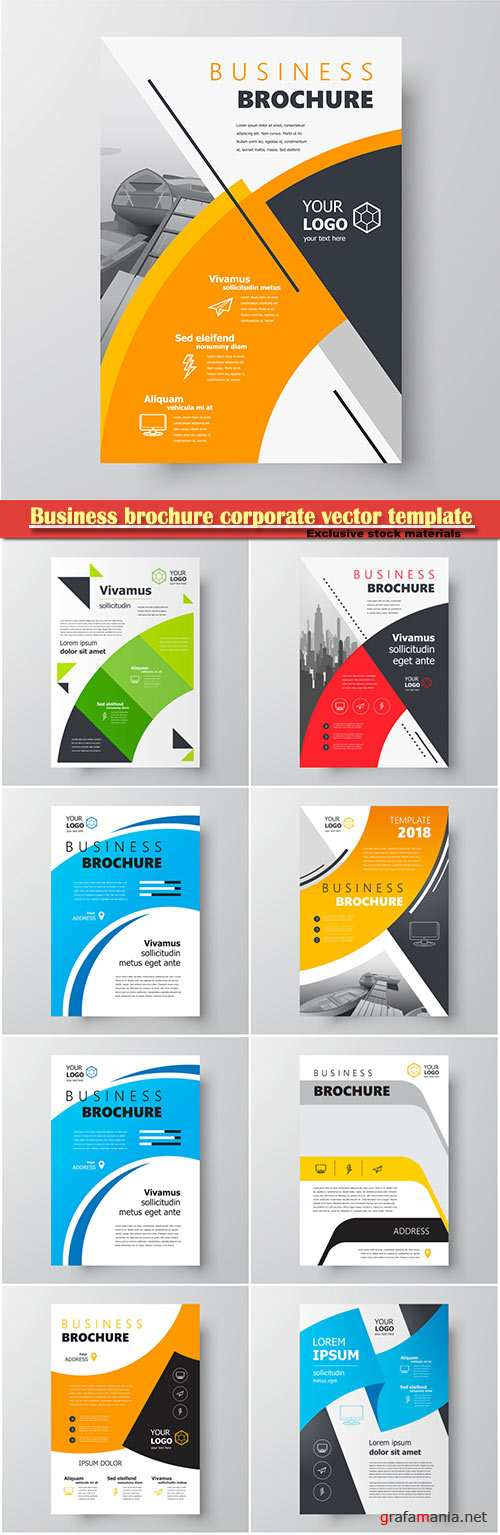 Business brochure corporate vector template, magazine flyer mockup # 6