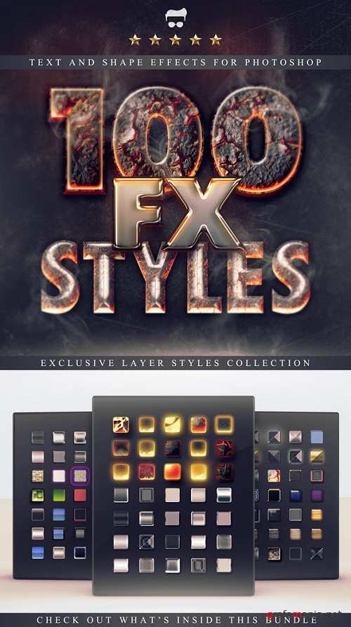 100 Layer Styles Bundle - Text Effects Set 3116716