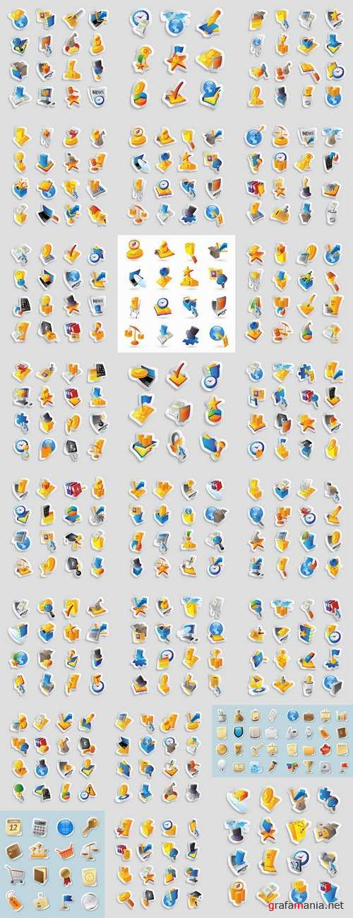 Realistic icons of different themes web design element of building site 25 EPS
