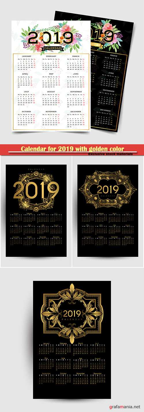 Calendar for 2019 with golden color on dark vector background
